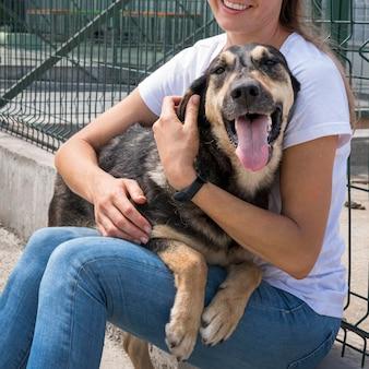 Schattige hond spelen met vrouw in opvangcentrum voor adoptie
