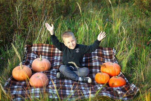 Schattige jonge jongen op geruite deken poseren met grote pompoenen