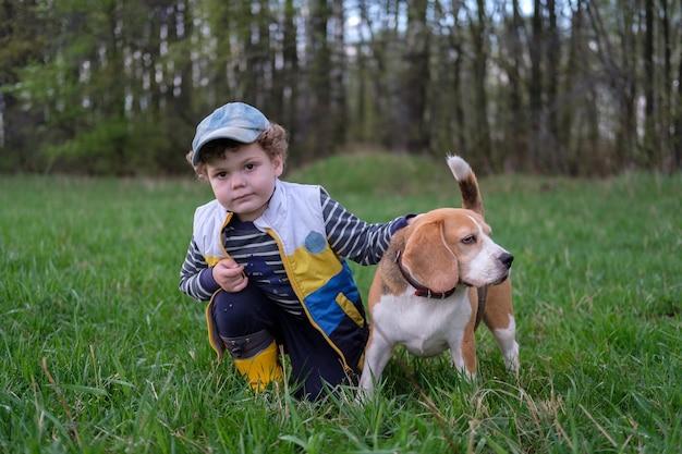 Schattige jongen met krullend haar op een wandeling met een beagle-hond op een lenteavond in het park