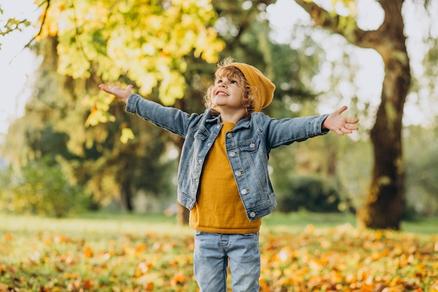 Schattige jongen spelen met bladeren in herfst park