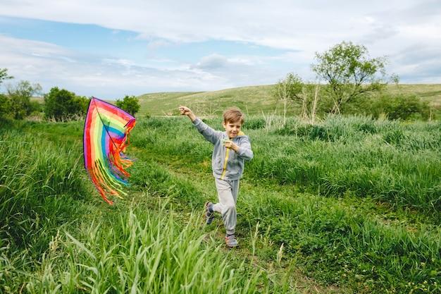 Schattige jongen spelen met kleurrijke vlieger buiten