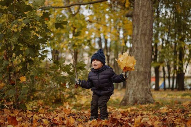 Schattige kaukasische kleine jongen die gele gevallen bladeren gooit en in de lucht springt met plezier in au