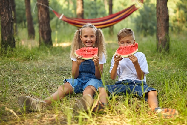 Schattige kinderen watermeloen eten in de tuin.