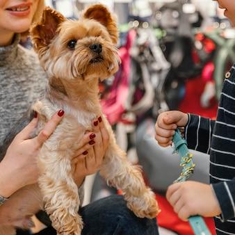 Schattige kleine hond met baasjes bij de dierenwinkel