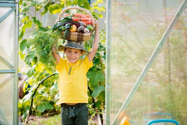 Schattige kleine jongen met een bos van verse biologische groenten in de binnentuin.