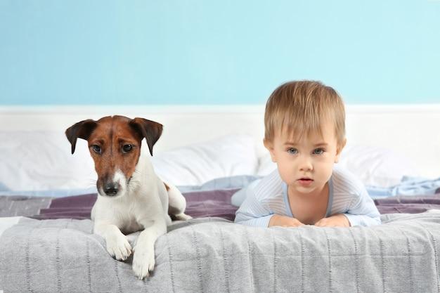 Schattige kleine jongen met grappige hond op bed thuis