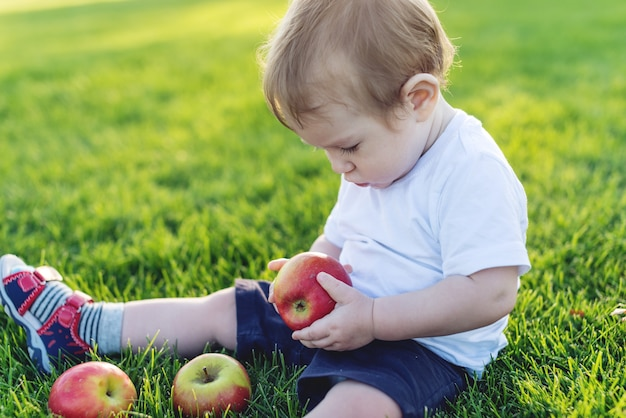 Schattige kleine jongen spelen met appels