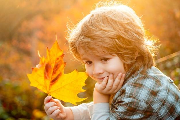 Schattige kleine kindjongen met herfstbladeren in het schoonheidspark. kinderen dromen.