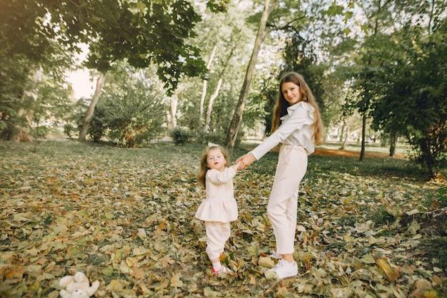 Schattige kleine zusjes spelen in een voorjaar park