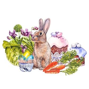 Schattige konijn dierlijke aquarel illustratie