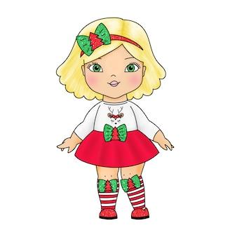 Schattige pop in kerstkleren