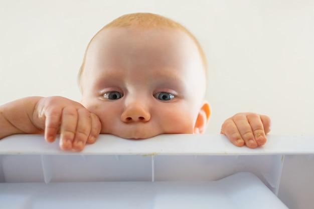 Schattige roodharige hongerige baby plastic bord bijten. close-up beeld van nieuwsgierige pasgeborene op zoek vanaf tafel en vast te houden. jeugd en kinderschoenen concept
