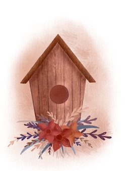 Schattige vogels en bloemenhuis, cottage chic, print