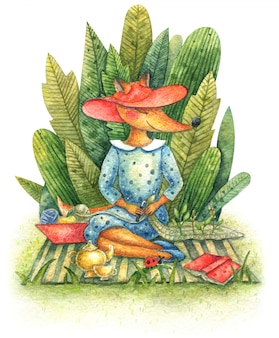 Schattige vos in een jurk en een rode hoed zit op een plaid op straat op het gras in de buurt van de groene struiken en haakwerk.