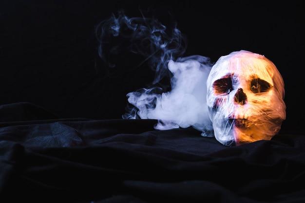 Schedel in plastic zak met rook