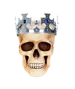 Schedel met een zilveren kroon