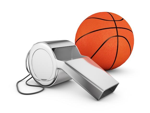 Scheidsrechtersfluit en een basketbal. 3d-rendering.