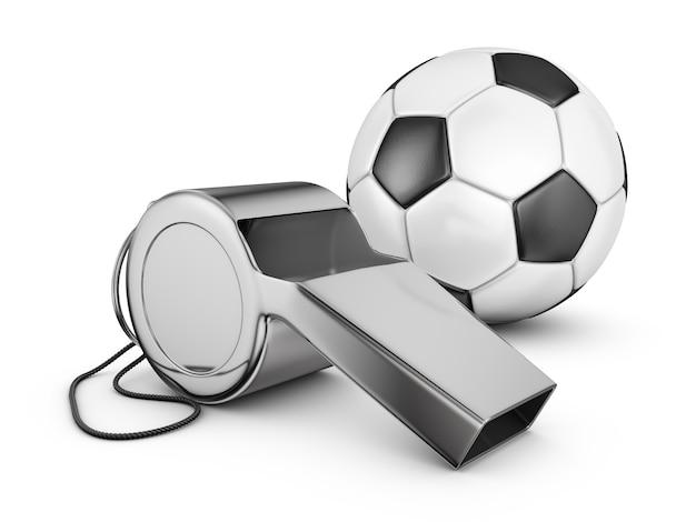 Scheidsrechtersfluitje en voetbal. 3d-rendering.