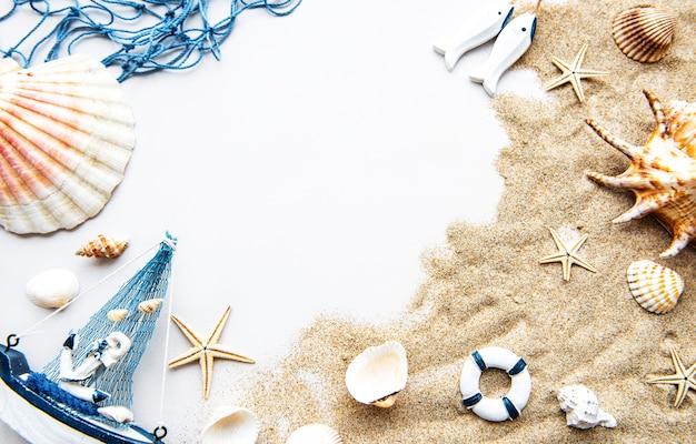 Schelpen op zand. zee zomervakantie achtergrond met ruimte voor de tekst. bovenaanzicht