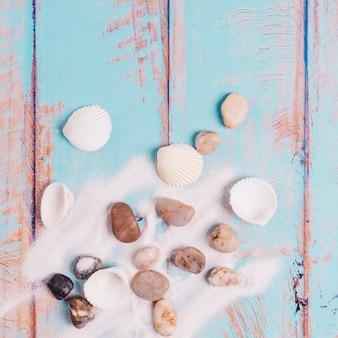 Schelpen, stenen en zand op een houten bord