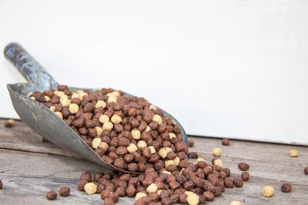 Scheplepel gevuld met uitgebalanceerde pellets voor honden en katten