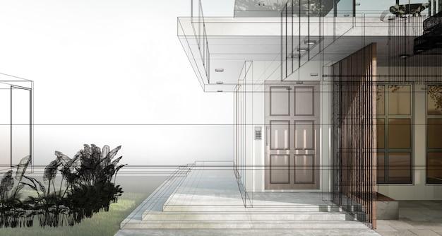 Schets en schets van een modern gezellig huis dat werkelijkheid wordt. 3d illustratie