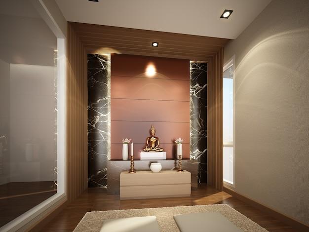 Schets ontwerp van interieur buddha kamer