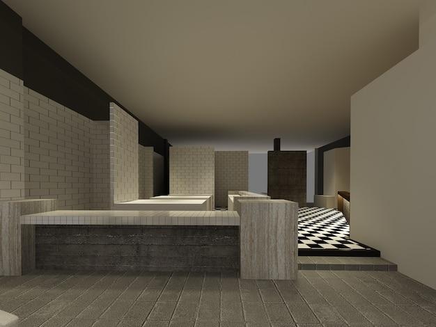 Schets ontwerp van restaurant, 3d draadframe renderen