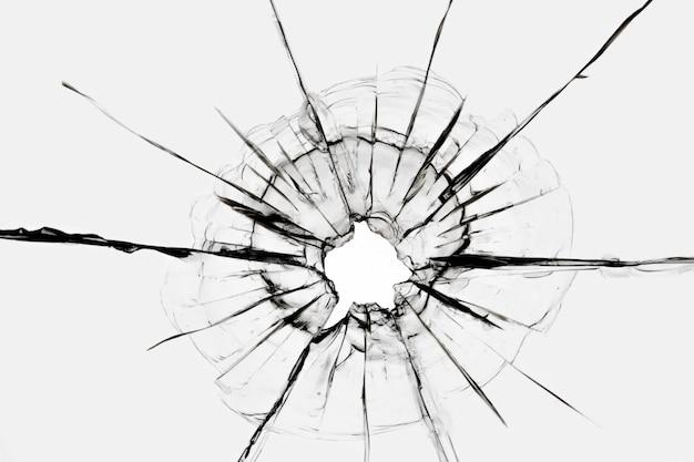 Scheuren in het raam door een schot van een wapen