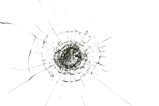 Scheuren op glas van schot, gebroken glas op wit
