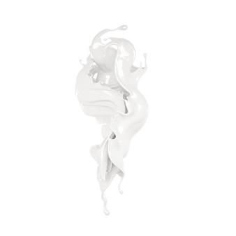 Scheutje dikke witte vloeistof. 3d-afbeelding, 3d-rendering.