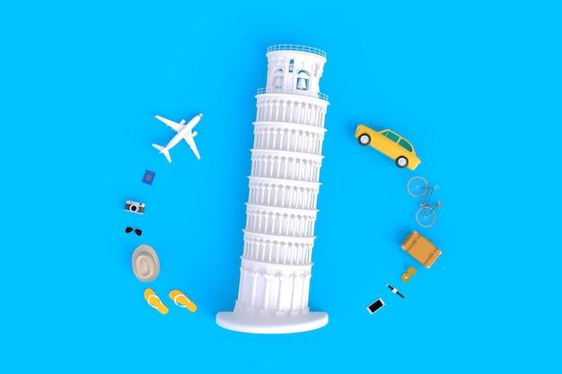 Scheve toren van pisa, italië, europa, italiaanse architectuur, bovenaanzicht van traveler's accessoires abstr