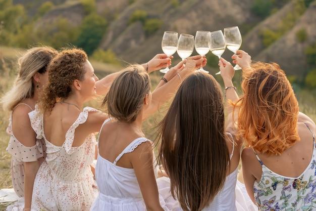 Schiet van achteren. het gezelschap van prachtige vrienden die plezier hebben, proosten en wijn drinken, en genieten van een picknick in het heuvellandschap.