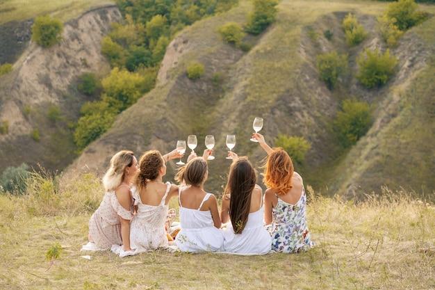 Schiet van achteren. het gezelschap van prachtige vriendinnen die plezier maken, proost en wijn drinken, en genieten van een picknick in het heuvellandschap.