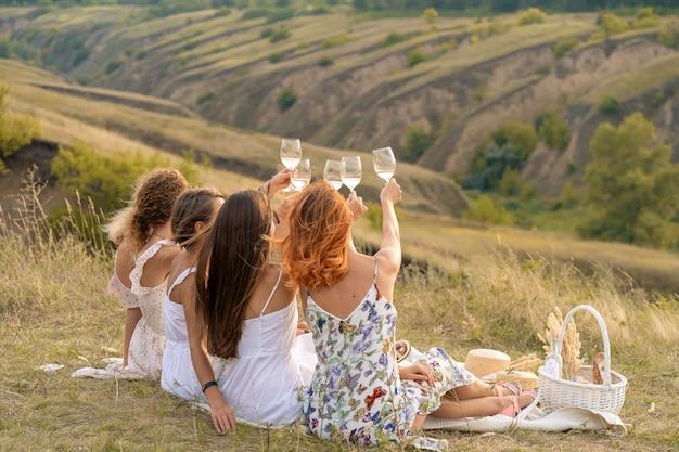 Schiet van achteren. het gezelschap van prachtige vrouwelijke vrienden die plezier hebben, proosten en wijn drinken, en genieten van een picknick in het heuvellandschap.