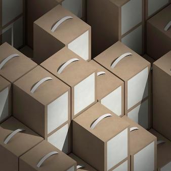 Schikking van productpakketten met een hoge hoek
