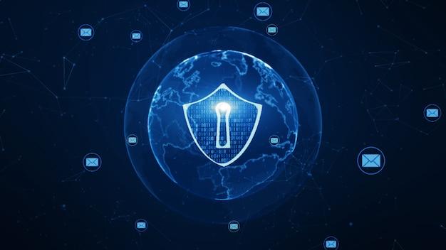 Schild en e-mailpictogram op beveiligd wereldwijd netwerk