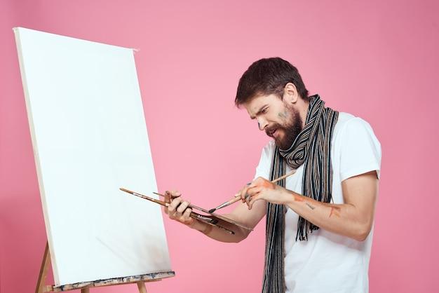 Schilder bedrijf palet tekening kunst ezel hobby creativiteit roze