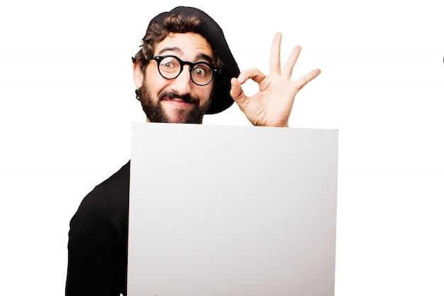 Schilder lachende mannelijke gelukkig baret