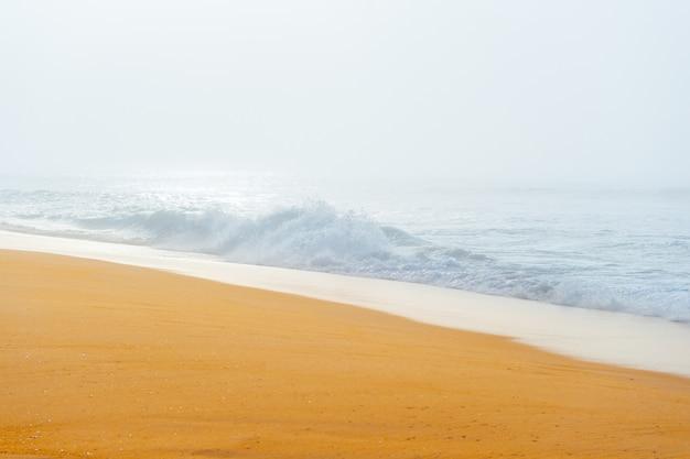 Schilderachtig schilderachtig zeegezicht met mistig strand.