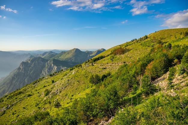 Schilderachtig uitzicht op de baai van kotor open vanuit een uitkijkpunt op de top van de berg.