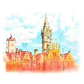 Schilderachtig uitzicht op de stad gent met prachtige middeleeuwse huizen en klokkentoren bij zonsondergang, belgië. foto gemaakte markeringen