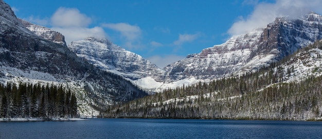 Schilderachtige besneeuwde toppen in de winter in het glacier national park, montana, verenigde staten.