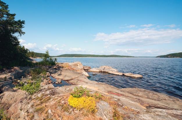 Schilderachtige kust van het eiland op het meer