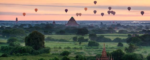 Schilderachtige zonsopgang met veel heteluchtballonnen