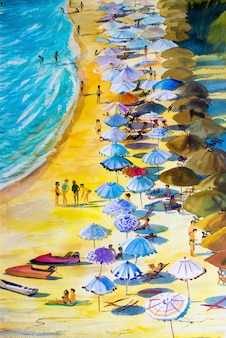 Schilderend zeegezicht kleurrijk van de vakantie en het toerisme van de minnaarsfamilie.