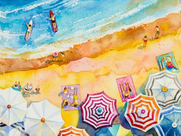 Schilderij aquarel zeegezicht bovenaanzicht kleurrijk van liefhebbers, familie.