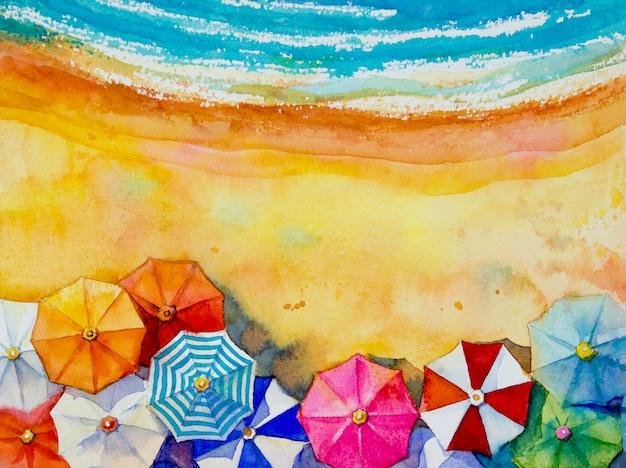 Schilderij aquarel zeegezicht bovenaanzicht kleurrijk van reizen.