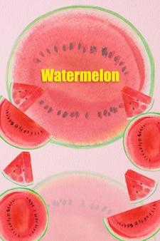 Schilderij fruit zomer watermeloen collectie handgetekende aquarel schilderijen