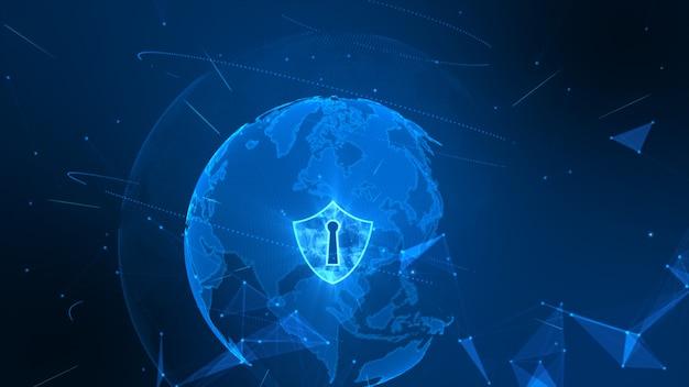 Schildpictogram op veilig wereldwijd netwerk, cyber-veiligheidsconcept. aarde-element ingericht door nasa